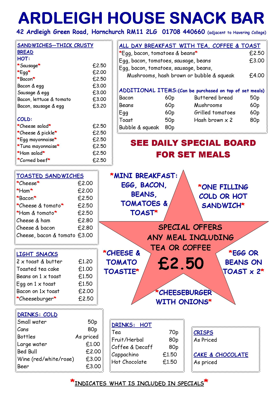 Ardleigh House Snack Bar menu