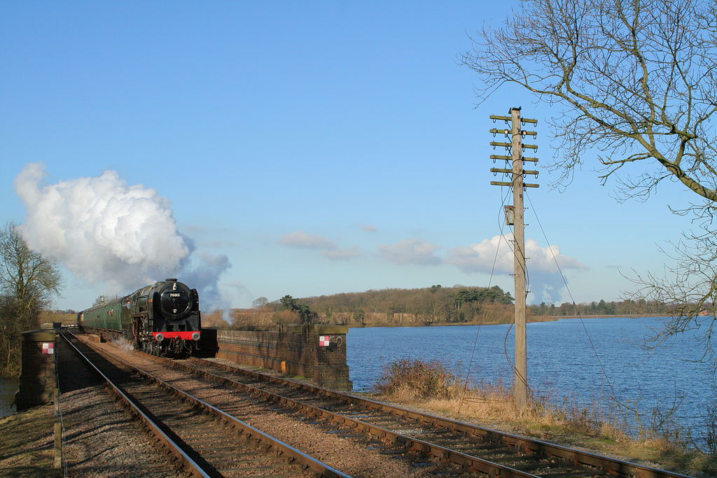 Train on the Swithland viaduct