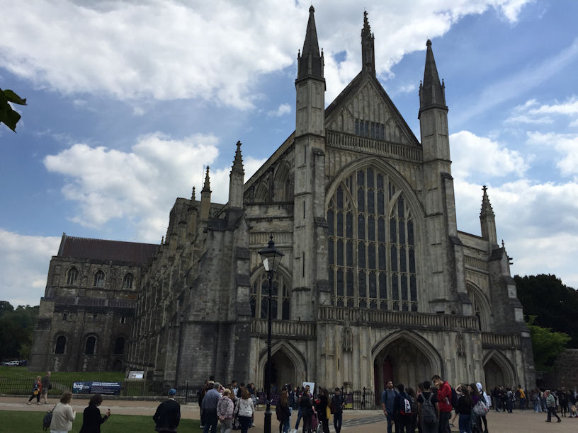 The massive frontage of Winchester Cathedral
